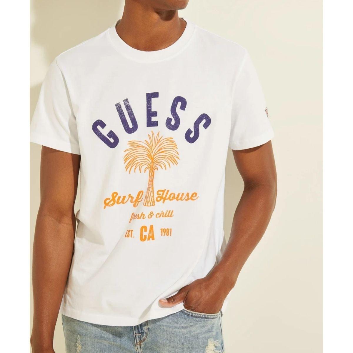 T-Shirt Guess Stampa Palma...